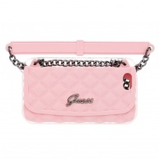 Dėklas GUESS Quilted clutch Case silicone ružavos spalvos iPhone 5/5s